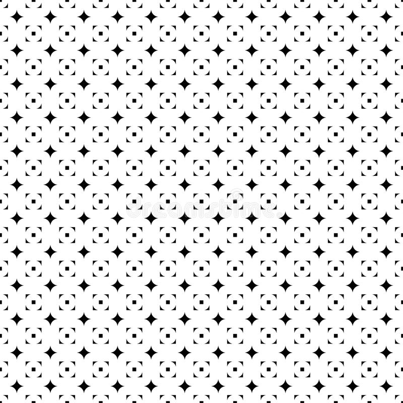 Abstract seamless pattern from grid of stars and squares. Simple black and white geometric texture for fabric. Vector vector illustration