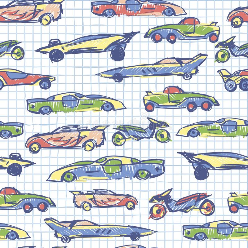Abstract seamless pattern with hand drawn cute car. School collection. Cartoon cars vector illustration. Notebook paper pattern. P stock illustration