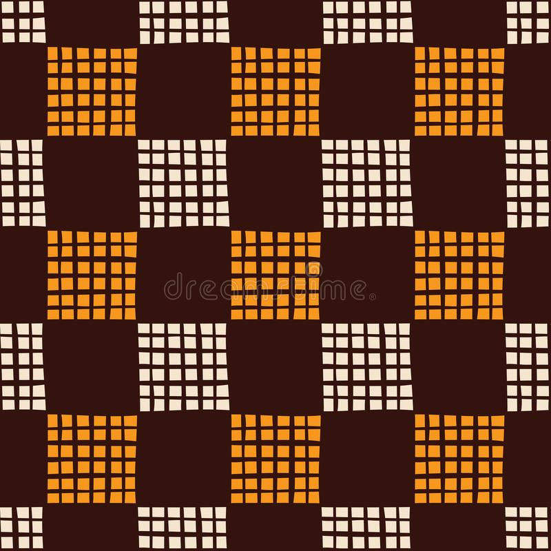 Abstract seamless pattern of hand drawn striped squares. Small square shapes. Brush strokes. stock illustration