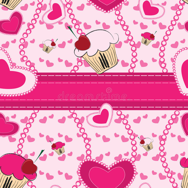 Abstract seamless pattern with hearts. Valentine seamless pattern with cakes and hearts vector illustration