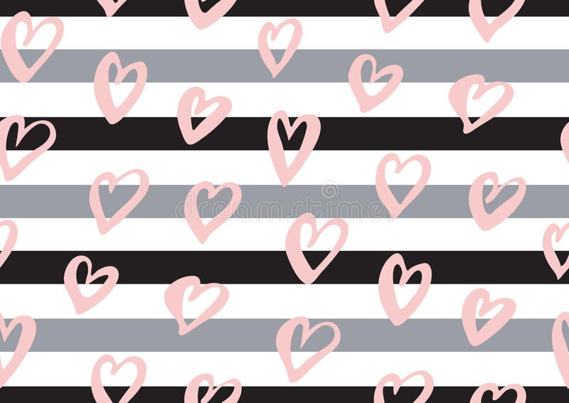 Abstract seamless pattern with the ink hearts, stripes. Abstract seamless pattern with the pink ink hearts, stripes royalty free illustration