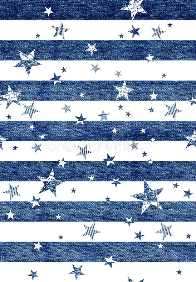 Abstract seamless pattern with the jeans textured stars, stripes. White background. textile design stock illustration