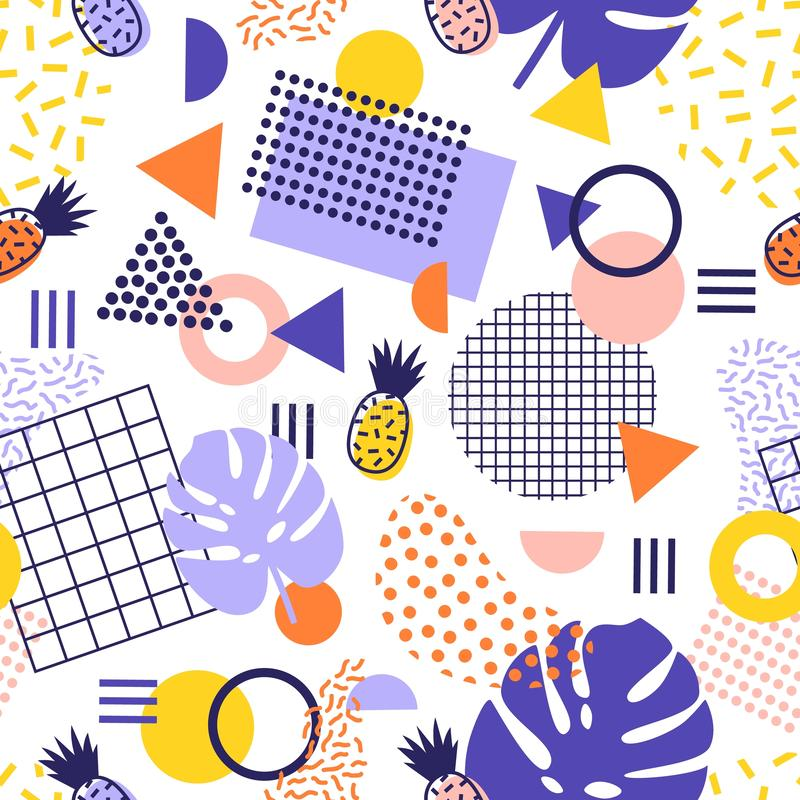 Abstract seamless pattern with lines, geometric shapes, tropical pineapple fruits and exotic leaves on white background stock illustration
