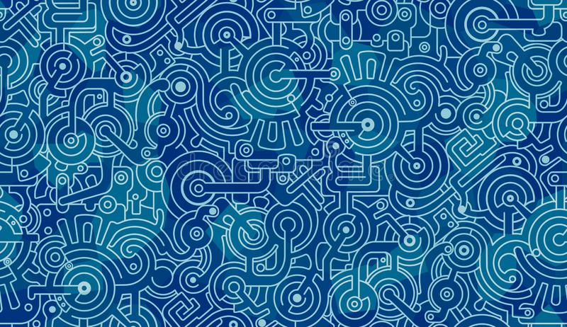 Abstract seamless pattern. Mechanisms, gears, bolts, cogs. Light and dark blue, white stock image