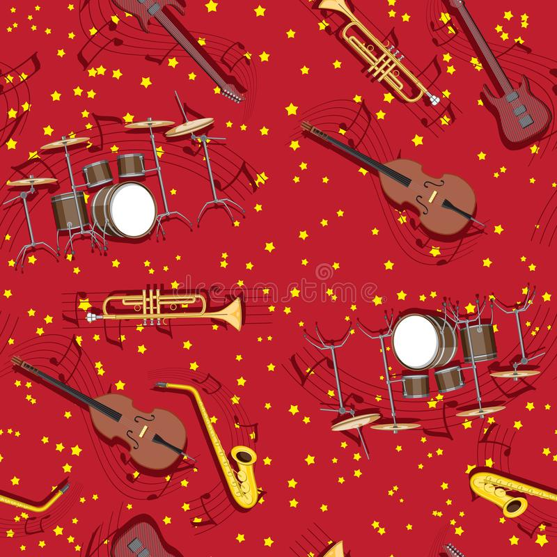 Abstract seamless pattern musical instruments trumpet drum saxophone guitar notes on the background of stars vector illustration