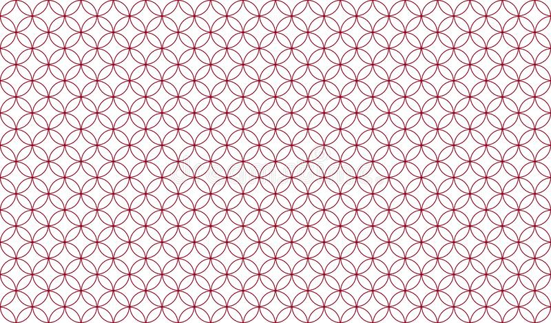 Abstract seamless pattern of overlapping thin red circles against a white background. Symmetrical design inspiration forming a pleasing, optical pattern used vector illustration
