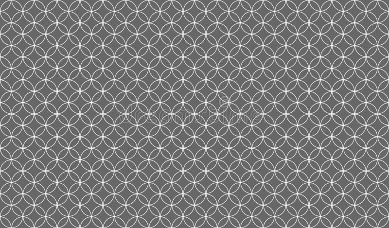 Abstract seamless pattern of overlapping thin white circles against a grey background. Symmetrical design inspiration forming a pleasing, optical pattern used vector illustration