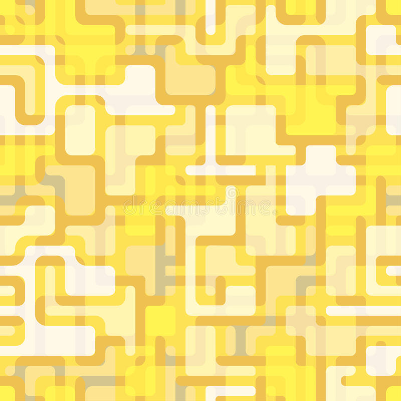Abstract seamless pattern with a pattern of thick lines and colored inserts. stock illustration