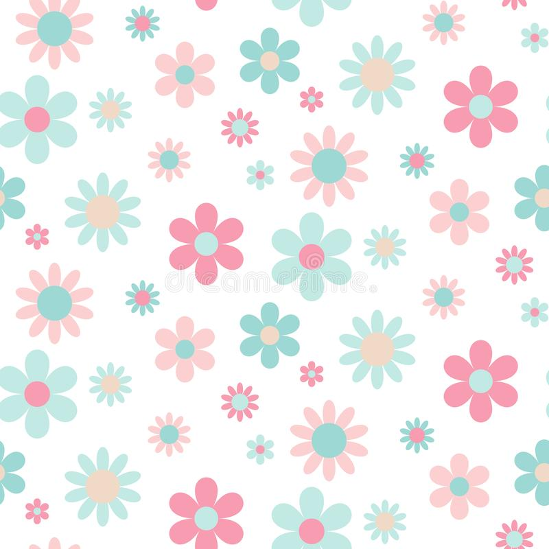 Abstract seamless pattern of pink and blue flowers royalty free illustration