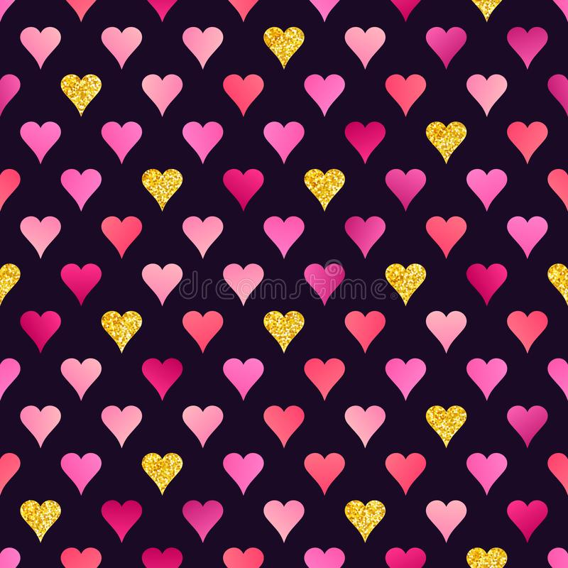 Abstract Seamless Pattern of Pink and Golden Hearts on Dark Back stock illustration