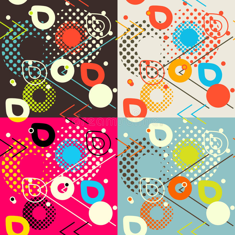 Abstract seamless pattern. Pixelated geometric shapes motif stock illustration