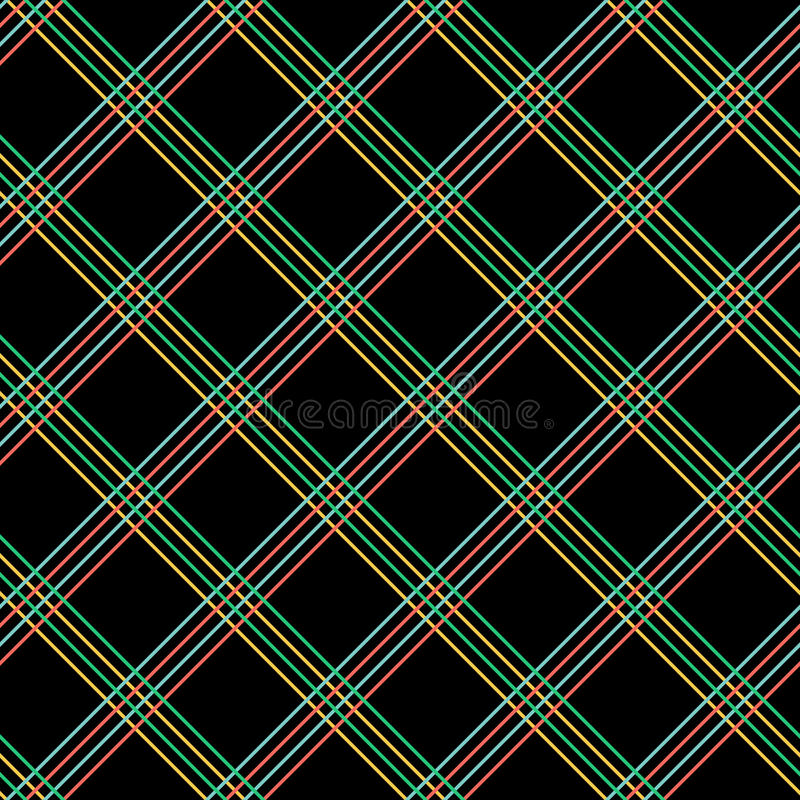 Abstract Seamless Pattern with Plaid Fabric on a black background. vector illustration