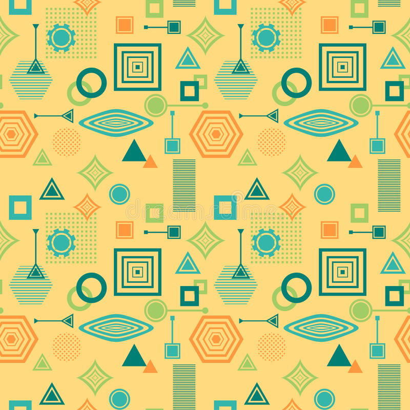 Abstract seamless pattern in postmodern Memphis Style blue green on yellow beige vector illustration