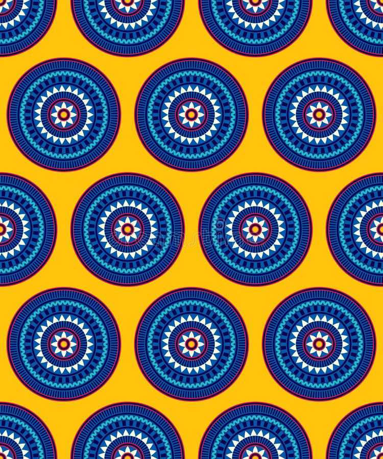 Abstract seamless pattern for printing on paper and textiles. Symmetrical and static arrangement of round shapes stock illustration