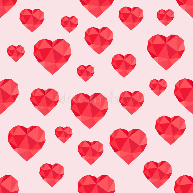 Abstract seamless pattern of red hearts low-poly vector illustration