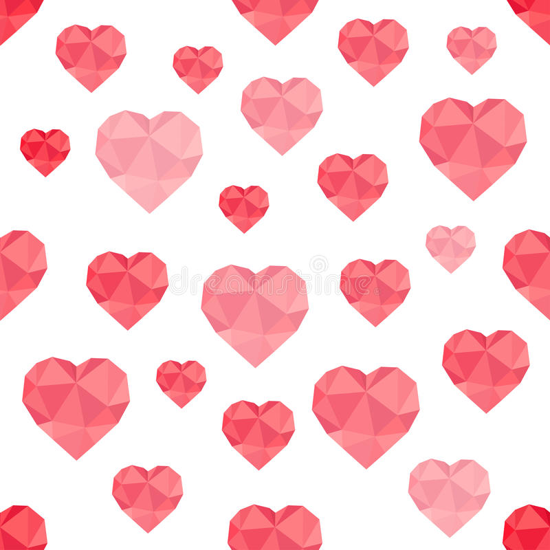 Abstract seamless pattern of red hearts low-poly stock illustration
