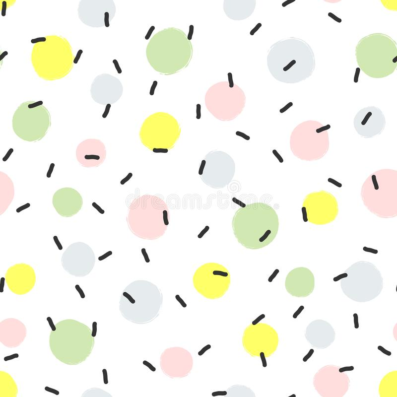 Abstract seamless pattern with round spots of paint and lines drawn by hand. stock illustration