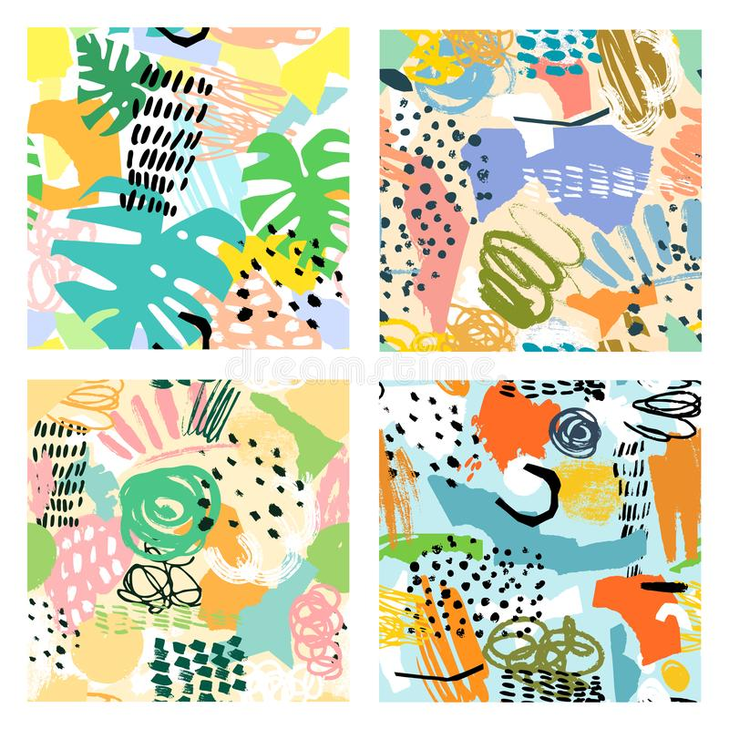 Abstract seamless pattern set. Collage graphic backgrounds vector illustration