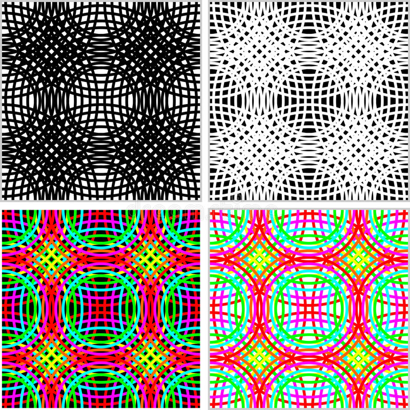 Free Abstract Seamless Pattern - Set Of Colorful Rings In Four Variants. Stock Photo - 46405470