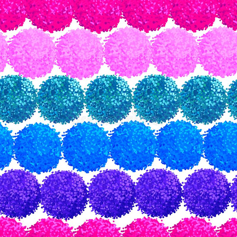 Abstract seamless pattern with small furry pompoms royalty free illustration