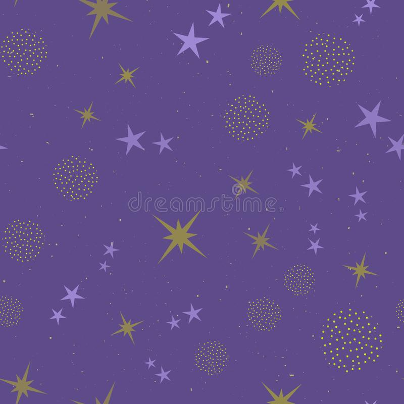 Abstract seamless pattern with stars. Birthday, children or girlish design.  vector illustration