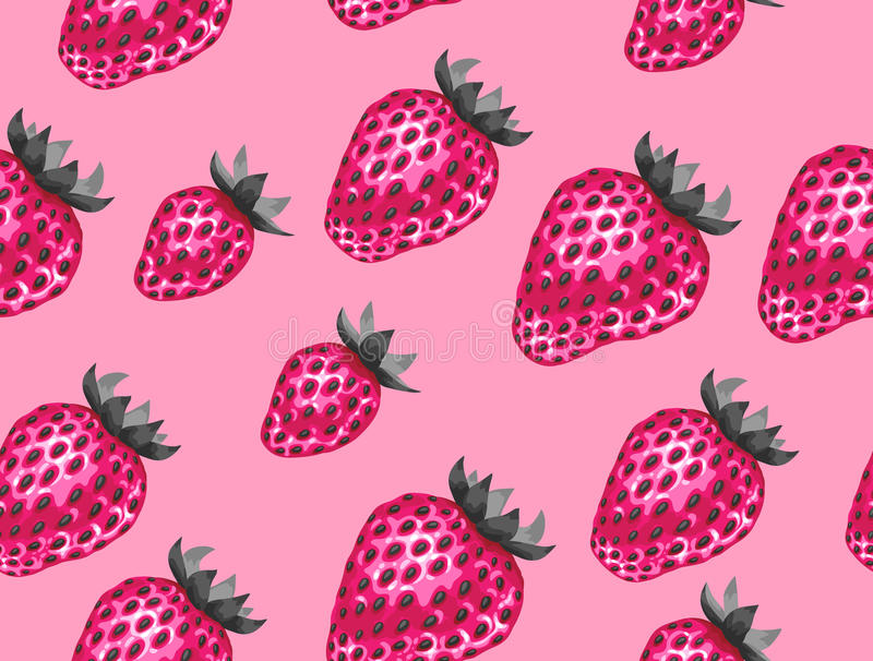 Abstract seamless pattern with strawberries in a pop art style stock illustration