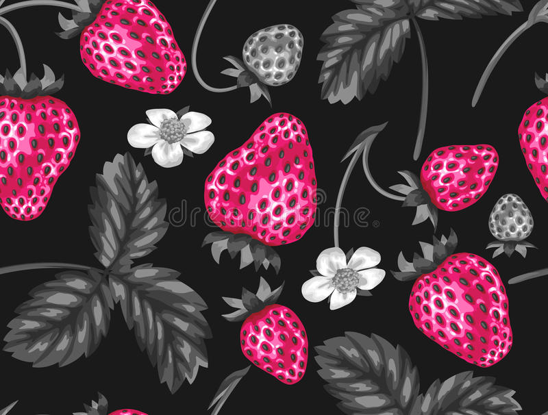 Abstract seamless pattern with strawberries in a pop art style.  royalty free illustration
