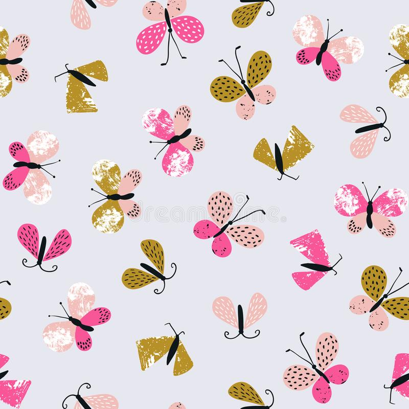Abstract vector seamless pattern for textile with butterflies. Cute repeated stylish summer background. vector illustration