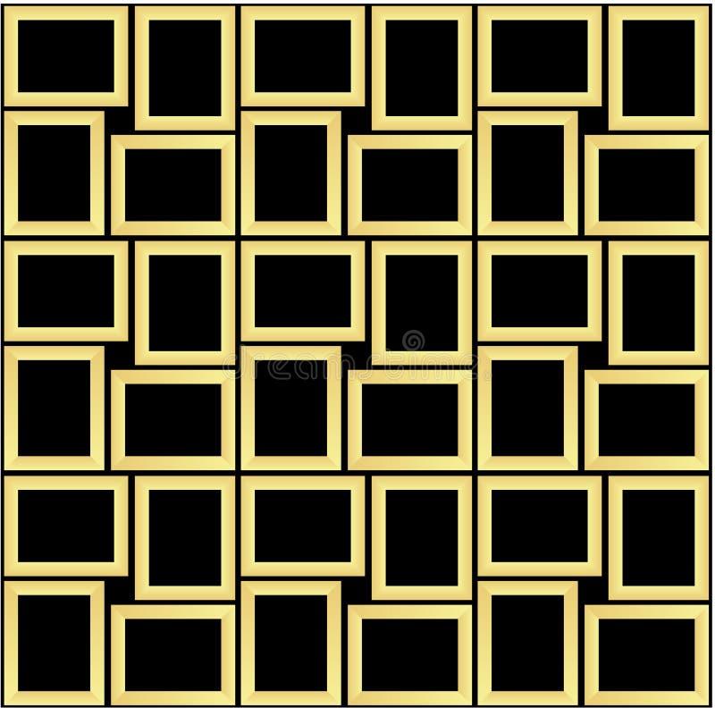 Abstract seamless pattern texture of golden rectangular frames over black background template Vector illustration stock illustration