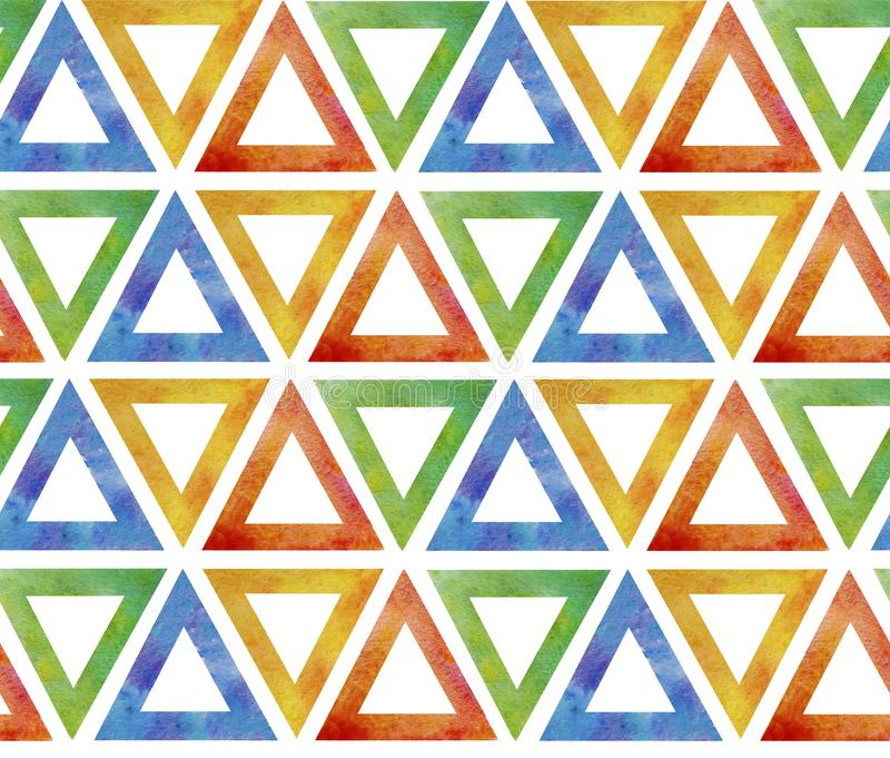Abstract seamless pattern tile from multicolored red blue green yellow triangles on a white background. Background ornamental like stock illustration