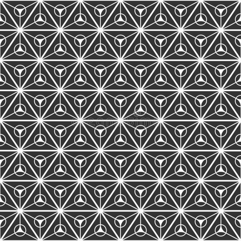 Abstract seamless pattern of triangles divided into three equal parts with a circles inside stock illustration