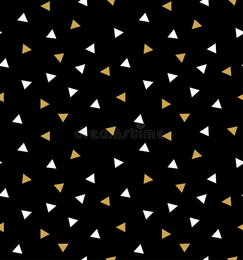 Abstract seamless pattern with triangles in gold and white on the dark gray background. stock illustration