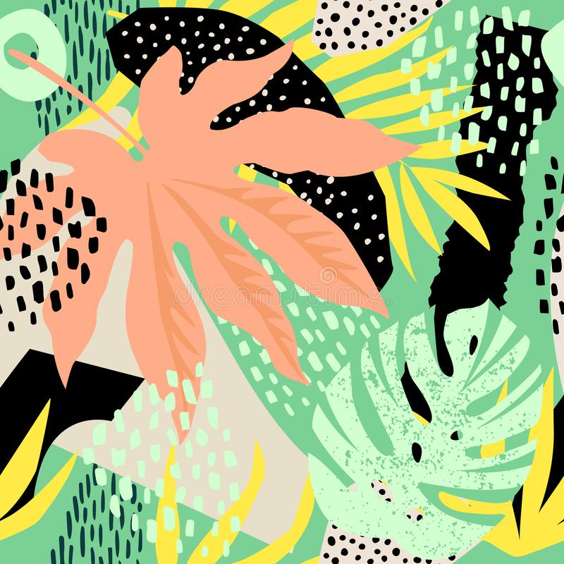 Abstract seamless pattern with tropical leaves. Hand draw texture. Vector template. Abstract seamless pattern with tropical leaves. Hand draw texture Vector stock illustration