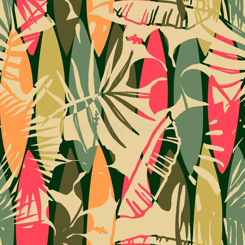 Abstract seamless pattern with tropical leaves. Hand draw texture. Vector template stock illustration