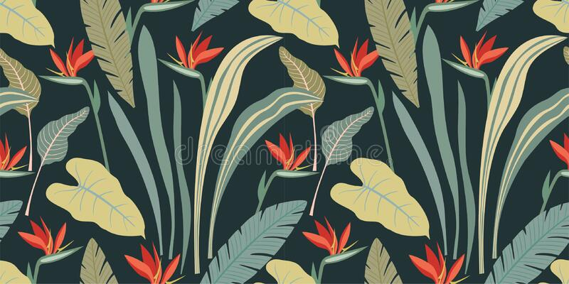 Abstract seamless pattern with tropical plants and flowers. Modern exotic design for paper, cover, fabric, interior decor and othe vector illustration