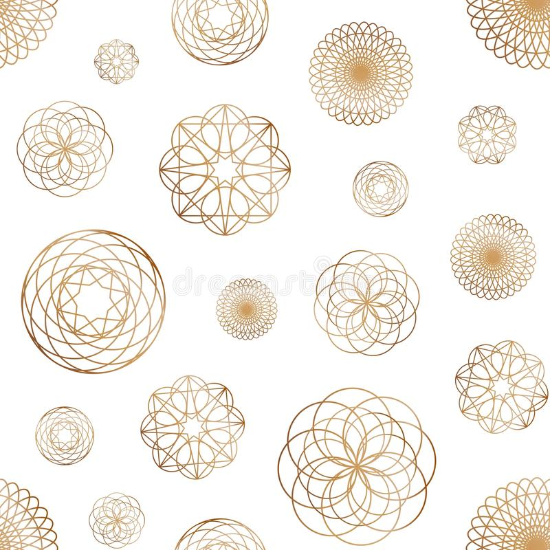 Abstract seamless pattern with various round geometric shapes drawn with golden contour lines on white background royalty free illustration