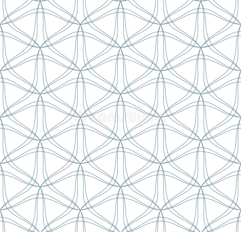 Abstract seamless pattern. Vector background. Seamless pattern of thin blue wave lines on the white background. Vector illustration. Abstract linear texture royalty free illustration