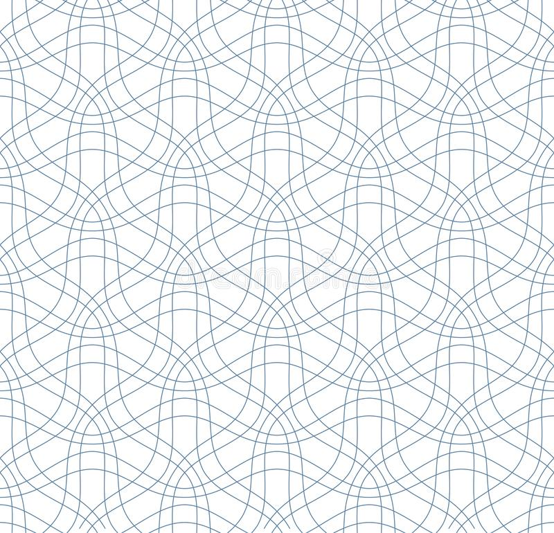 Abstract seamless pattern. Vector background. Abstract seamless pattern of thin blue wavy lines on the white background. Vector illustration of linear texture vector illustration