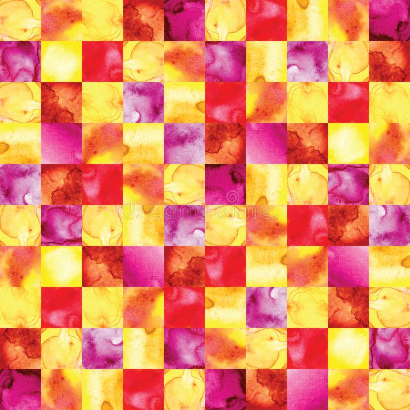 Abstract seamless pattern in watercolor. Bright watercolor mosaic of red, yellow, orange, pink. Geometrical ornament. For stock illustration