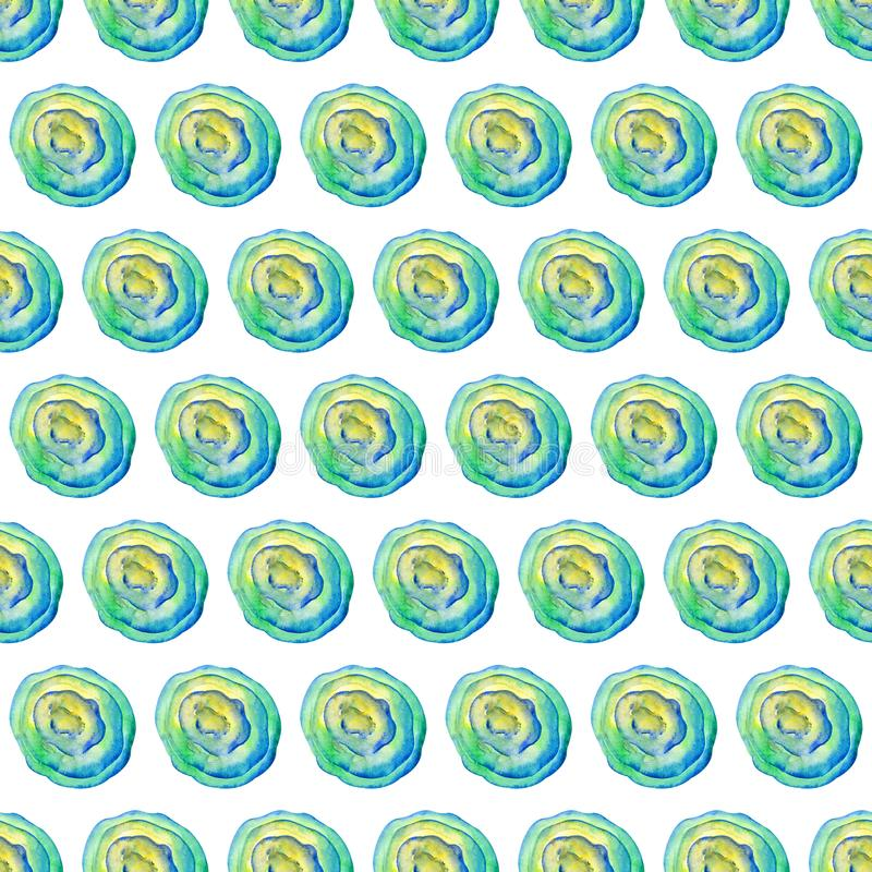 Abstract seamless pattern in watercolor. Watercolor stains, lines and gradients of yellow, green and blue. For design of paper, vector illustration