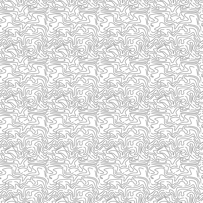 Abstract Seamless Pattern with Wavy Line. Black and White Contour Ornament. stock illustration