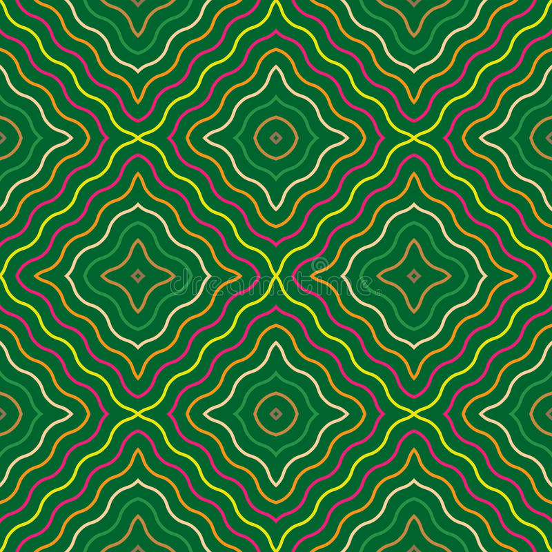 Abstract seamless pattern with wavy lines. Endless texture with stylish squares on green background can use for textile, dress, blouse, shawl, bedclothes stock illustration