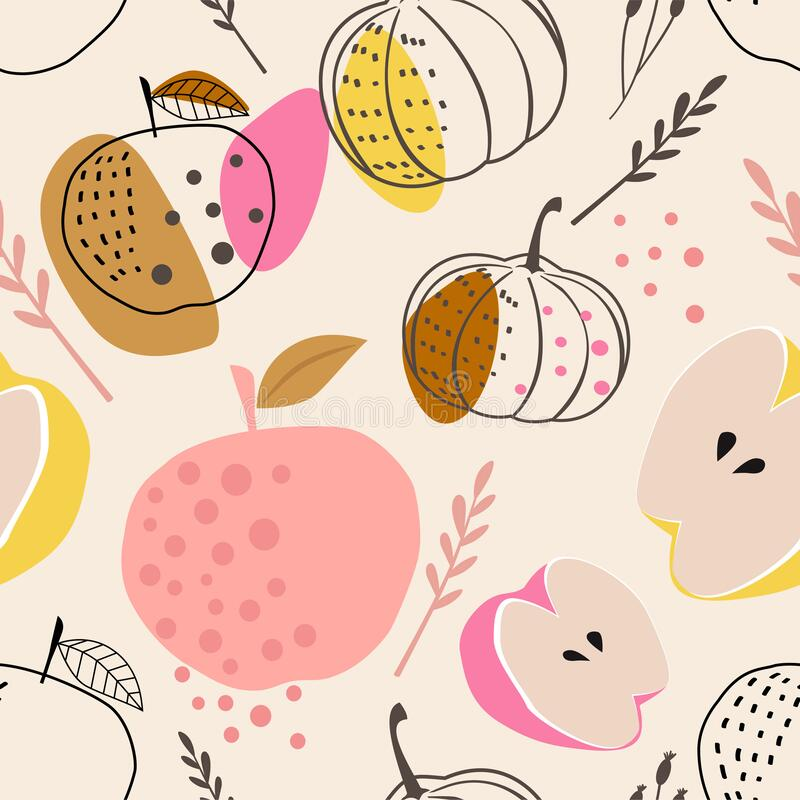 Free Abstract Seamless Pattern With Stylized Apples And Pumpkins. Modern Abstract Design For Paper, Covers, Fabrics, Home Decoration An Stock Photos - 192537163