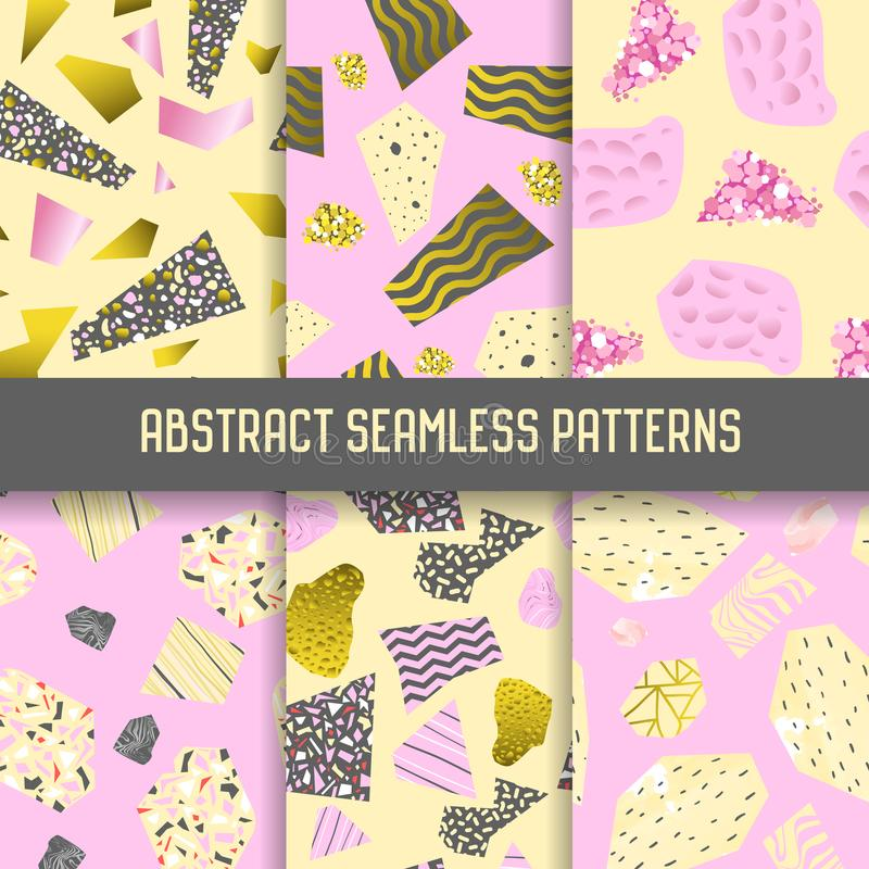 Abstract Seamless Patterns Set with Golden Glitter Elements. Background with Geometric Shapes for Poster, Cover stock illustration