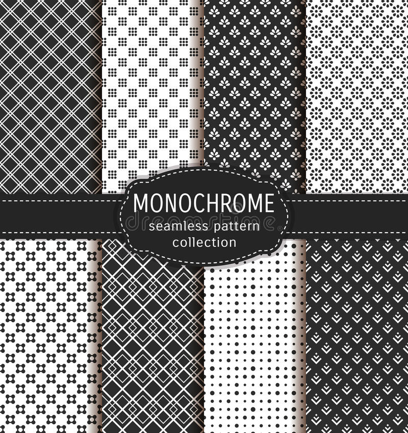 Abstract seamless patterns. Vector set. royalty free illustration