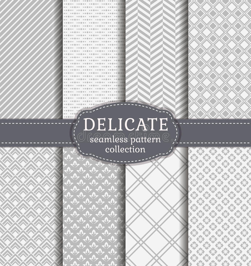 Abstract seamless patterns. Vector set. Abstract seamless patterns in delicate white and gray colors. Set of backgrounds with geometric and floral ornaments royalty free illustration
