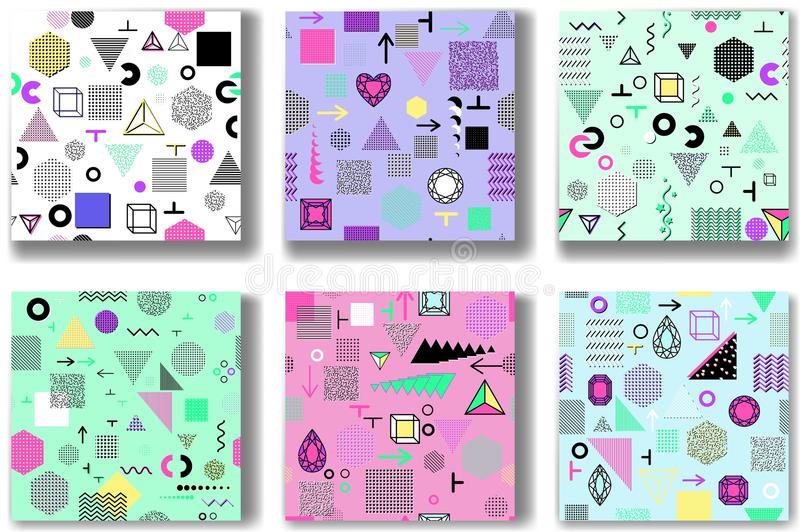 Abstract seamless patterns 80'-90's styles. Trendy memphis style vector illustration