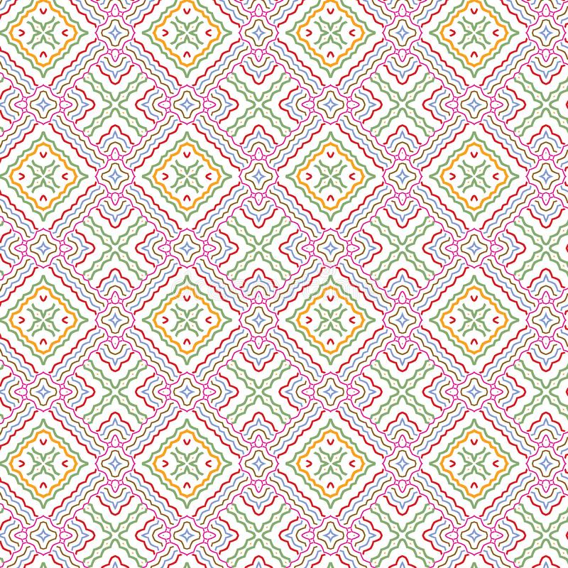 Abstract Seamless Plaid Floral Bright Colorful Foliage Grid Pattern Background royalty free illustration