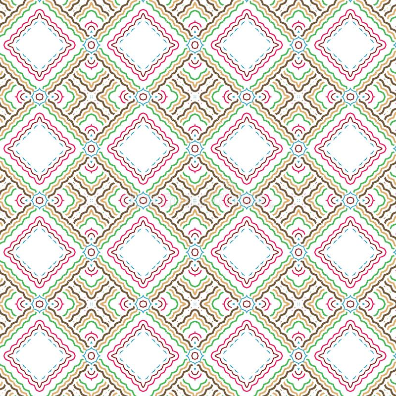 Abstract Seamless Plaid Floral Bright Foliage Grid Pattern Background royalty free illustration