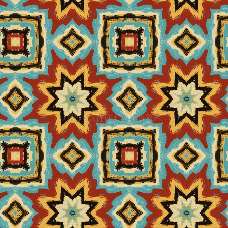 Abstract seamless psychedelic ethnic ornament stock image